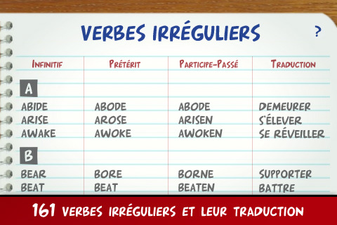 Application Verbes Irreguliers Faciles Anglais Iphonote