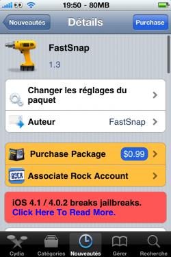 Application FastSnap sur Cydia