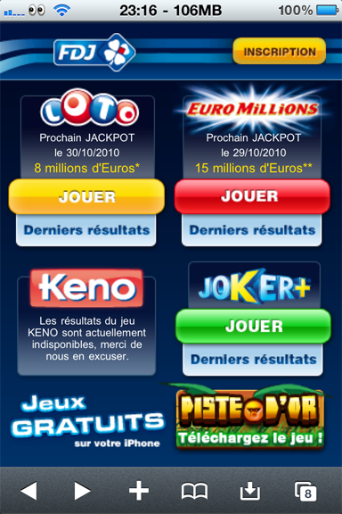 La Francaise des Jeux version Mobile iPhone