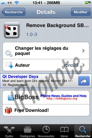 Remove Background iOS 4.1 MAJ sur Cydia