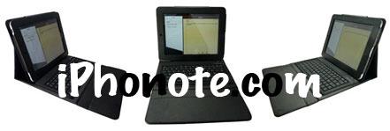 Exclu : Etui en cuir avec clavier bluetooth intégré pour l'iPad