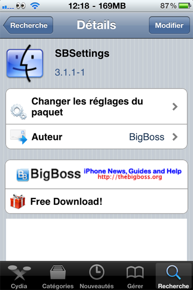 News Jailbreak : SBsettings et SBsettingstoggles MAJ 3.1.1-1 sur Cydia