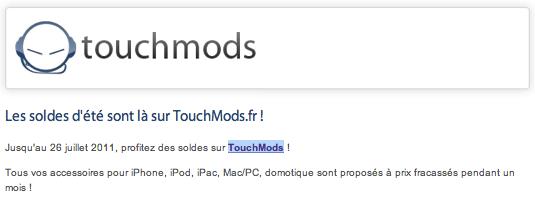 Touchmods passe en mode été : Vive les promos !
