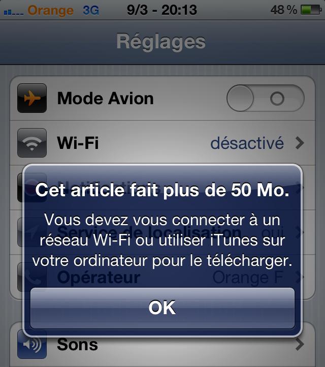 Augmentation limite téléchargement en 3G - 50Mo