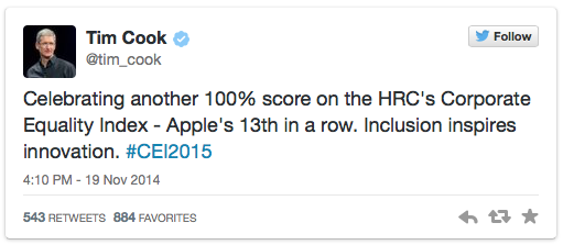 apple-remporte-un-score-parfait-de-lenquete-de-corporate-equality-index-pour-la-13eme-fois