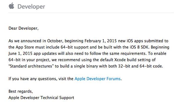 apple-previent-les-developpeurs-du-soutien-64-bits-obligatoire-a-partir-du-1-fevrier-2015