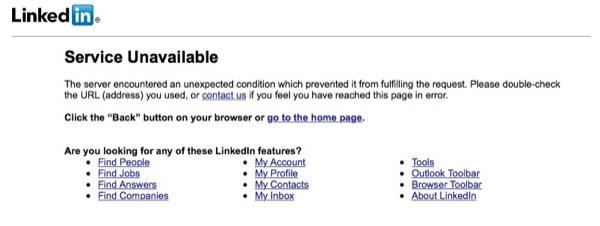 [MàJ] LinkedIn : Le site est actuellement hors service