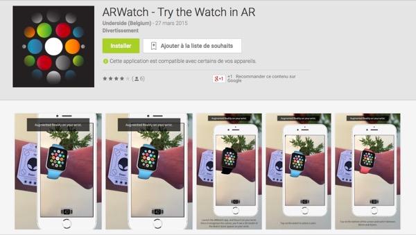 arwatch l 39 apple watch en r alit augment e disponible sur android. Black Bedroom Furniture Sets. Home Design Ideas