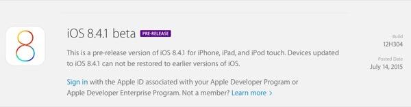 iOS 8.4.1 bêta 1 est disponible en téléchargement pour les développeurs