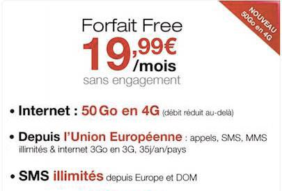 Free Mobile augmente le data à 50Go dans son forfait