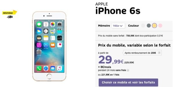iphone 6s 6s plus sfr de bons prix et une offre de remboursement de 200. Black Bedroom Furniture Sets. Home Design Ideas