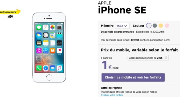 iphone se prix pr commande chez orange sosh sfr bouygues et free. Black Bedroom Furniture Sets. Home Design Ideas