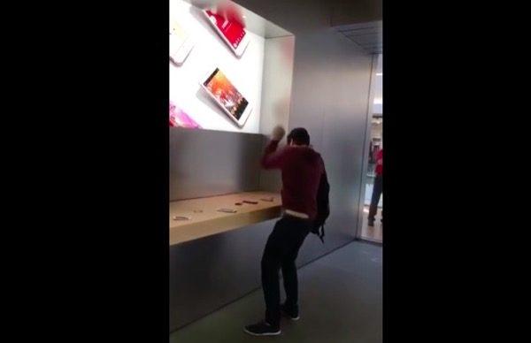 explose-iphone-boule-de-petanque-lapple-store-de-dijon-video
