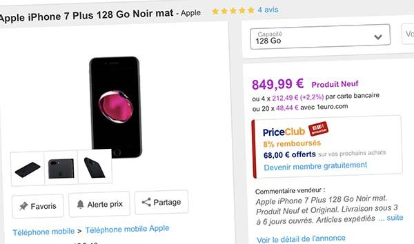 Bon Plan Priceminister : iPhone 7 Plus 128Go et iPhone 7 Plus 256Go + bons d'achat