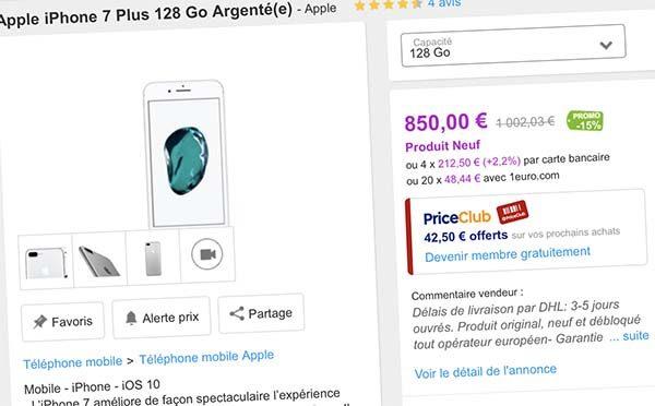 Bons Plans Priceminister : iPhone 7 Plus (32 / 128 / 256Go), et iPhone 7 128Go + bons d'achat