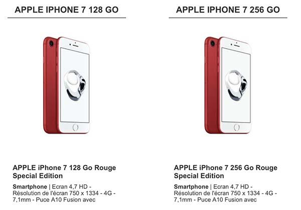 Cdiscount propose aussi les iPhone 7 et 7 Plus Product(RED)