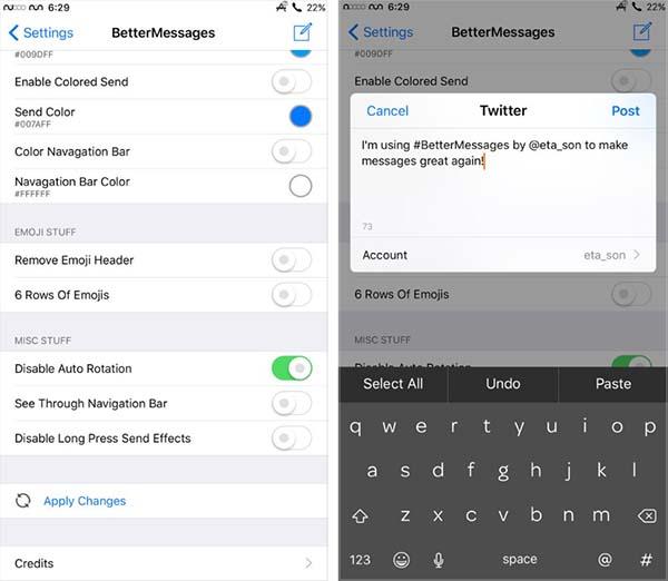 BetterMessages ajoute de nouvelles fonctions à l'app Messages sous iOS 10