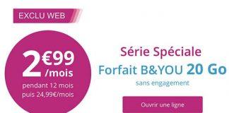 Bouygues prolonge son forfait illimité B&You 20Go à 2,99€