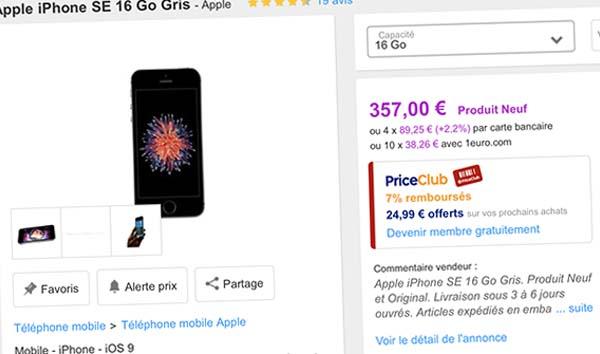 Bons Plans Priceminister : iPhone 6 64Go à 304€, iPhone SE 16Go à 357€ (+ bons d'achat)