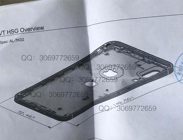 iPhone 8 : un autre schéma montre le double capteur à la verticale et Touch ID au dos