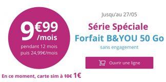Bouygues, l'offre B&You 50Go d'Internet à 10€/mois valable jusqu'au 27 mai