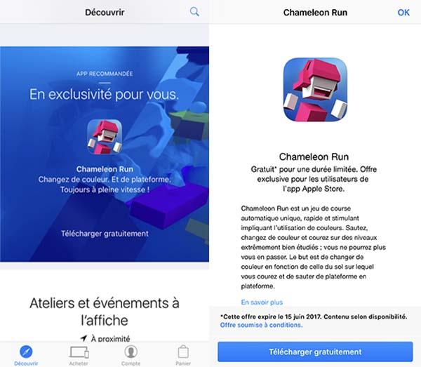 Chameleon Run à télécharger gratuitement au lieu de 2,29€ via l'app Apple Store