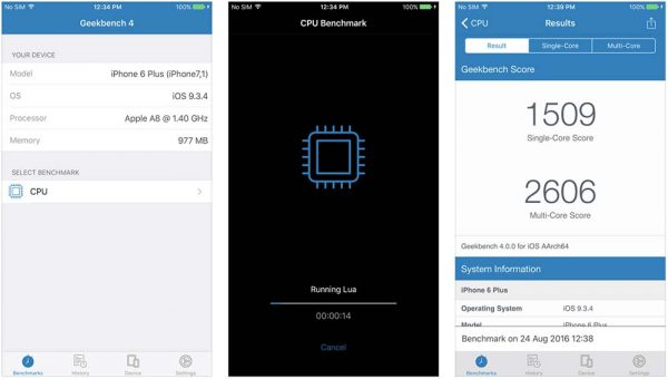 GeekBench 4 - Évaluer l'efficacité d'un dispositif iOS