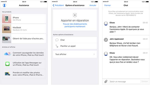L'application Assistance Apple permet de planifier des réparations et plus
