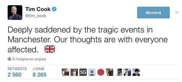 Tim Cook présente ses condoléances aux victimes de l'attentat de Manchester