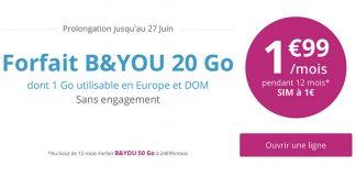 Bouygues prolonge une nouvelle fois son offre Spéciale B&You 20Go à 1.99€/mois