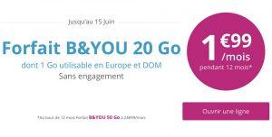 B&You - Offre Série Spéciale 20Go à 1.99€/mois pendant 12 mois !