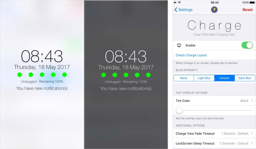 Charge offre une vue du chargement depuis l'écran verrouillé [Jailbreak iOS 10]
