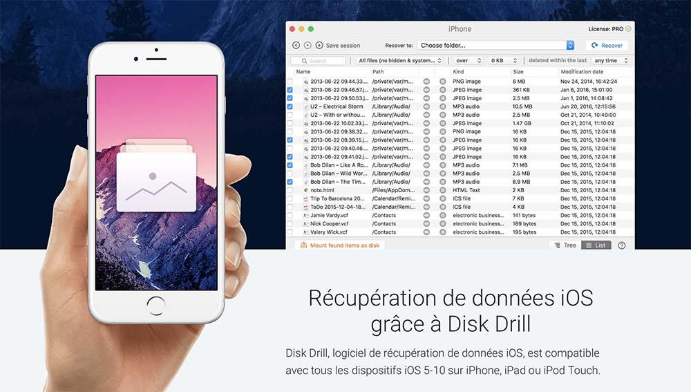 Concours : 5 licences Pro de Disk Drill 3 pour la récupération de données iPhone sur Mac