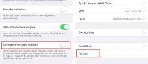 iOS 11 - Désinstallation des apps inutiles et un nouveau bouton Éteindre