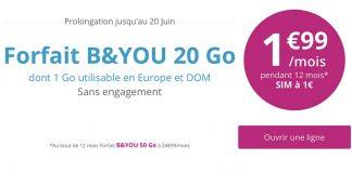 L'offre Série Spéciale B&You 20Go à 1.99€/mois est prolongée de 5 jours!