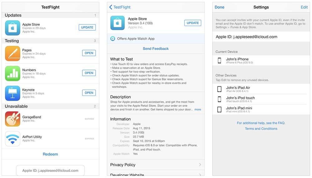 Mise à jour de TestFlight pour la compatibilité d'iOS 11 bêta
