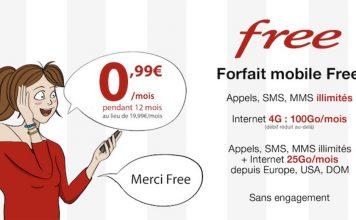 Promo Free : forfait 100 Go + appels/SMS/MMS illimités à 0,99€/mois