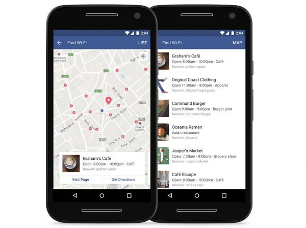 Facebook : l'application propose une carte pour le WiFi gratuit