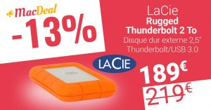 MacDeal : le disque dur LaCie Rugged Thunderbolt 2 To à seulement 189€