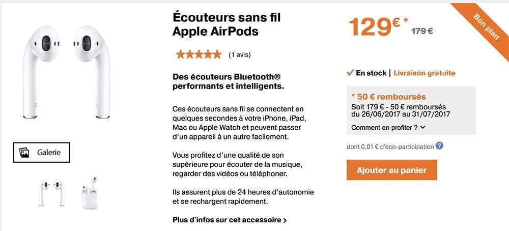 Promo : les AirPods à seulement 129€ au lieu de 179€ !