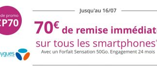 Promo Bouygues Telecom : 70€ de remise immédiate sur tous les mobiles !