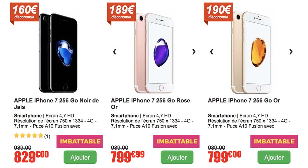 soldes iphone 7 256go noir de jais or rose partir de 799 au lieu de 989. Black Bedroom Furniture Sets. Home Design Ideas