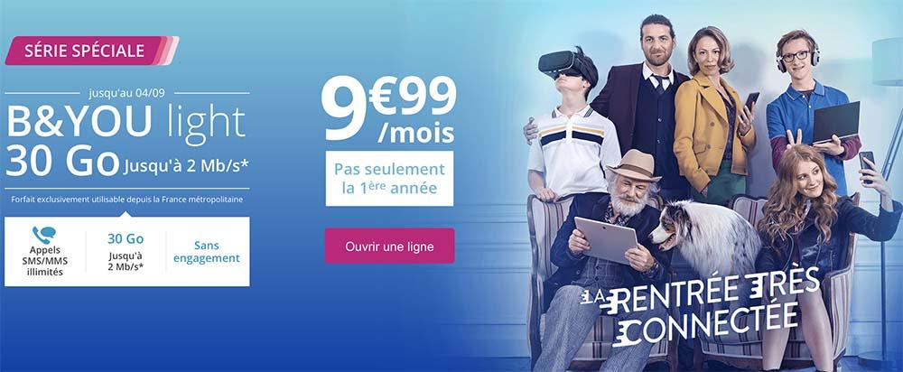 Bouygues prolonge son offre B&YOU light 30Go à 9,99€/mois