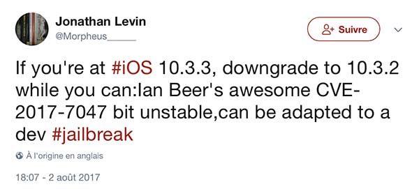 Jailbreak iOS 10.3.2 : des failles encore présentes permettraient de le faire !