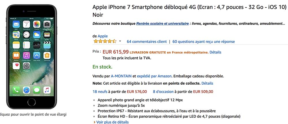 Bon Plan : iPhone 7 / 7 Plus de 32/128 Go à partir de 615€