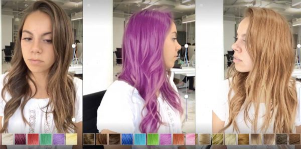 Application test couleur cheveux