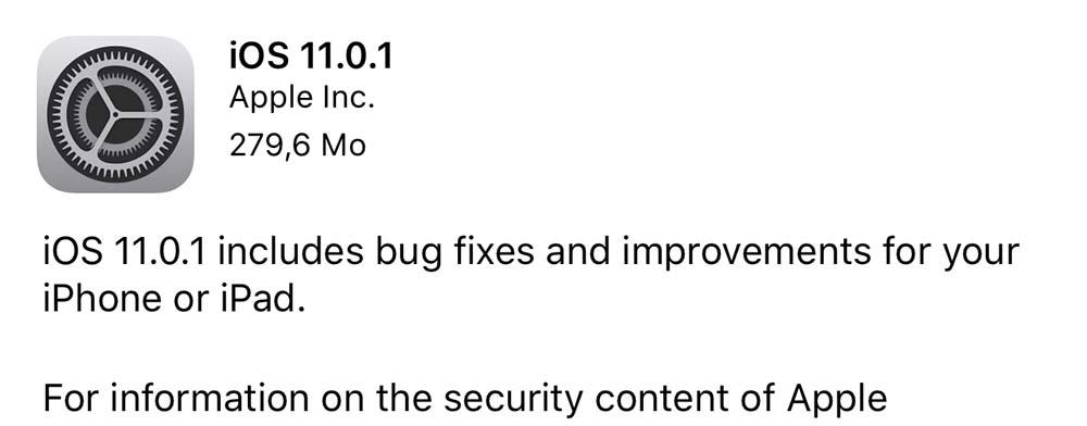 iOS 11.0.1 est disponible pour tout le monde
