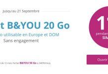 Promo : offre B&You de 20 Go à seulement 1,99€ par mois