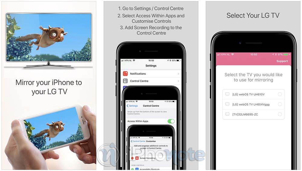 AirBeamTV : le mode miroir de l'iPhone maintenant compatible les TV LG