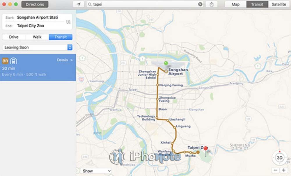 Apple Plans : les transports en commun sont disponibles à Taiwan
